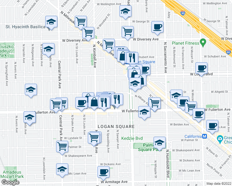 map of restaurants, bars, coffee shops, grocery stores, and more near 2499 North Sawyer Avenue in Chicago