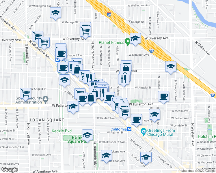 map of restaurants, bars, coffee shops, grocery stores, and more near 2502 North Francisco Avenue in Chicago