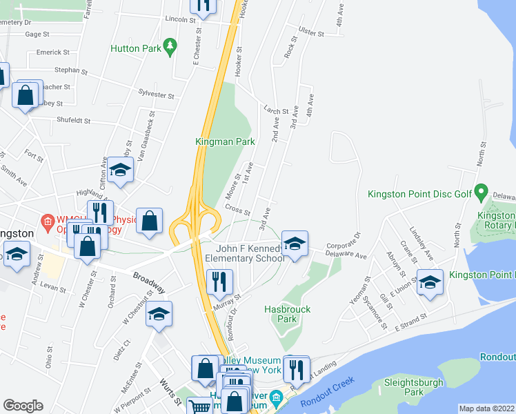 map of restaurants, bars, coffee shops, grocery stores, and more near 56 2nd Avenue in Kingston