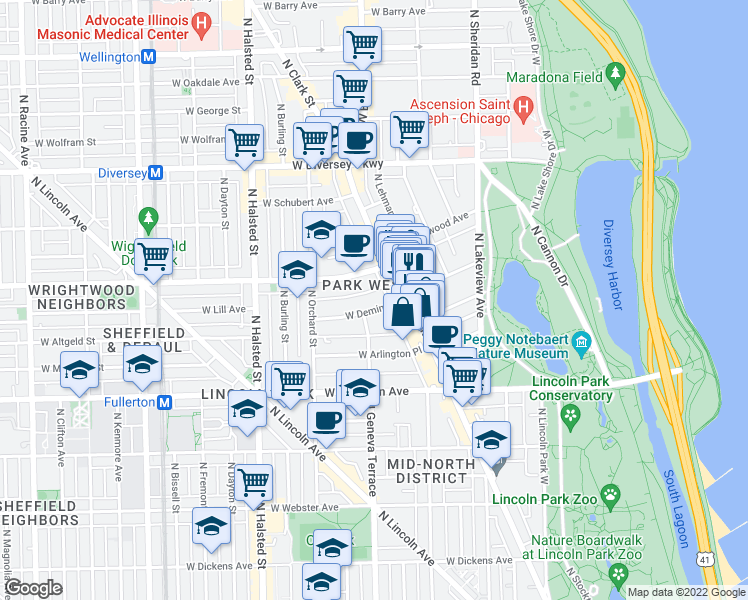 map of restaurants, bars, coffee shops, grocery stores, and more near 536 West Deming Place in Chicago