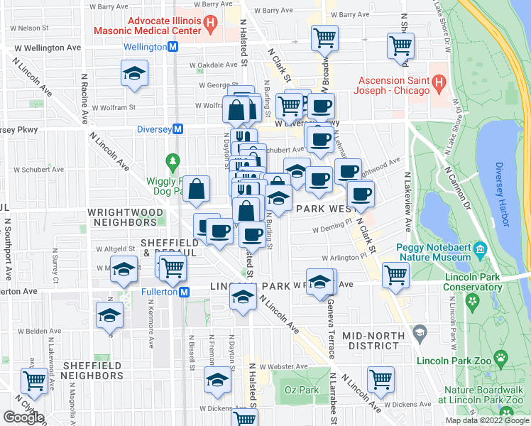 map of restaurants, bars, coffee shops, grocery stores, and more near 2548 North Burling Street in Chicago
