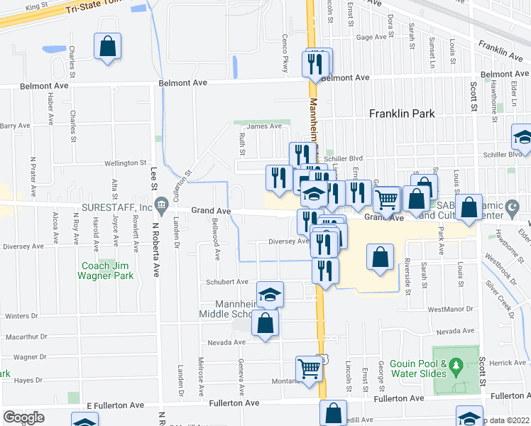 map of restaurants, bars, coffee shops, grocery stores, and more near 10515 West Grand Avenue in Franklin Park