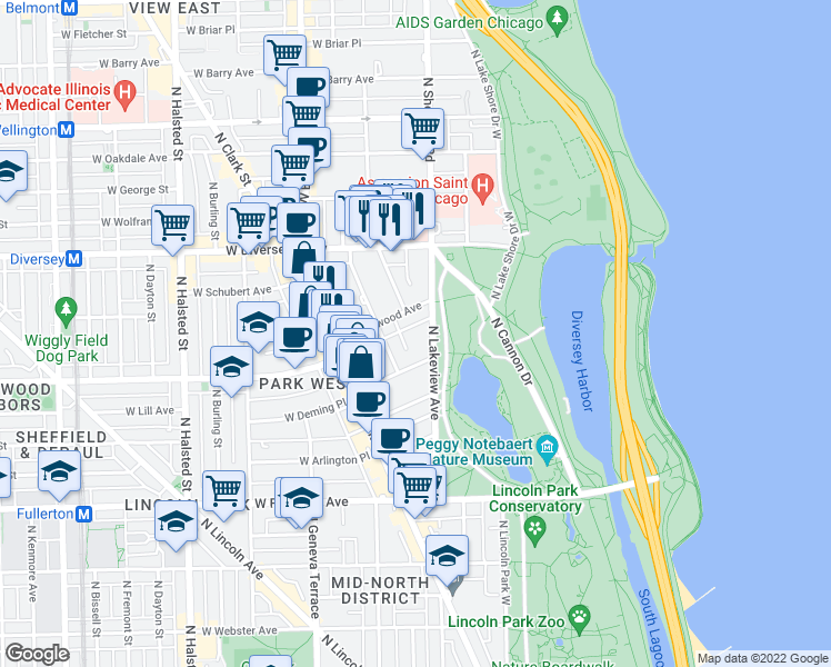 map of restaurants, bars, coffee shops, grocery stores, and more near 2626 North Lakeview Avenue in Chicago
