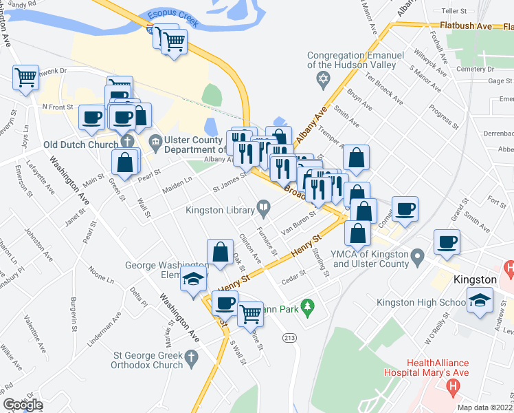 map of restaurants, bars, coffee shops, grocery stores, and more near 125 Prospect Street in Kingston