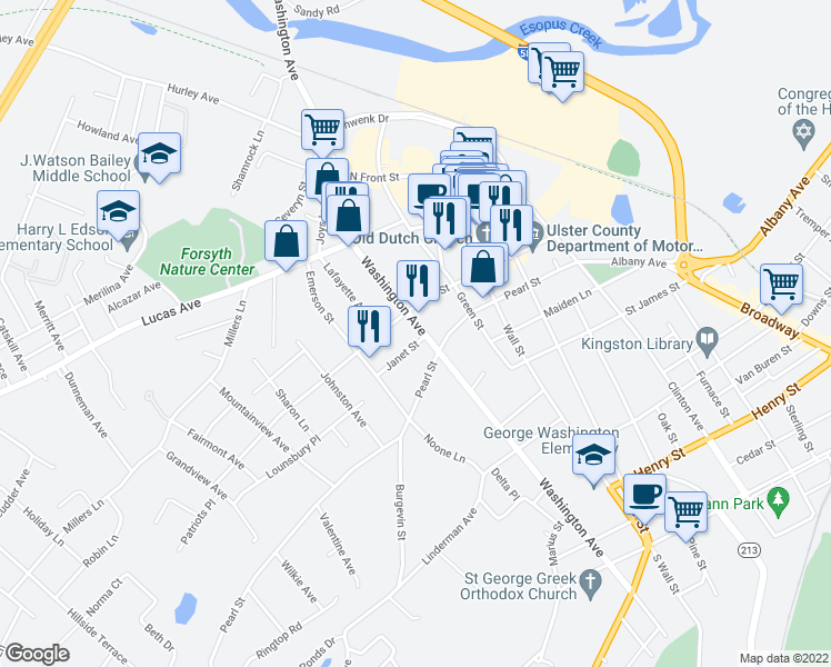 map of restaurants, bars, coffee shops, grocery stores, and more near 245 Washington Avenue in Kingston
