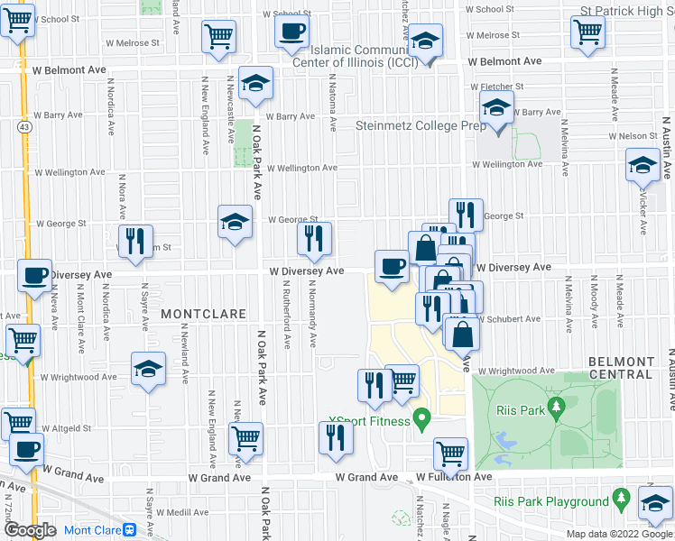 map of restaurants, bars, coffee shops, grocery stores, and more near W Diversey Ave & N Natoma Ave in Chicago