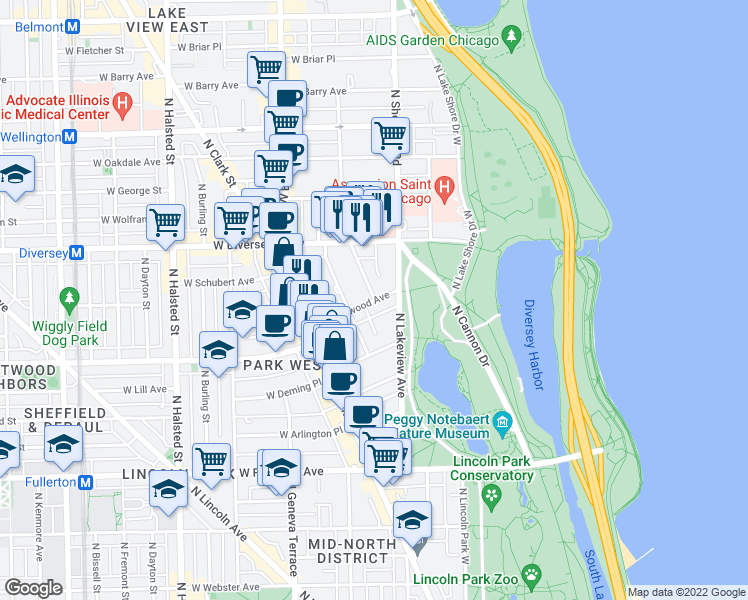 map of restaurants, bars, coffee shops, grocery stores, and more near West Wrightwood Avenue & North Pine Grove Avenue in Chicago