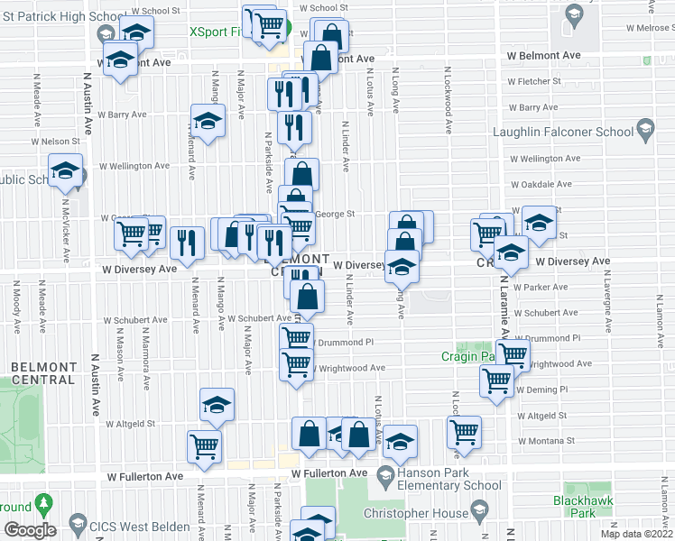 map of restaurants, bars, coffee shops, grocery stores, and more near 5511 West Diversey Avenue in Chicago