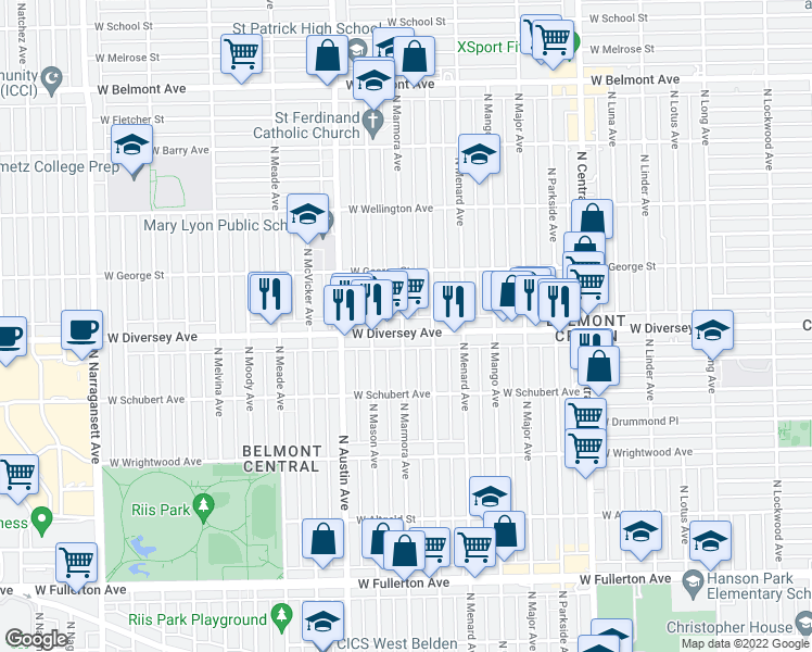map of restaurants, bars, coffee shops, grocery stores, and more near 5858 West Diversey Avenue in Chicago