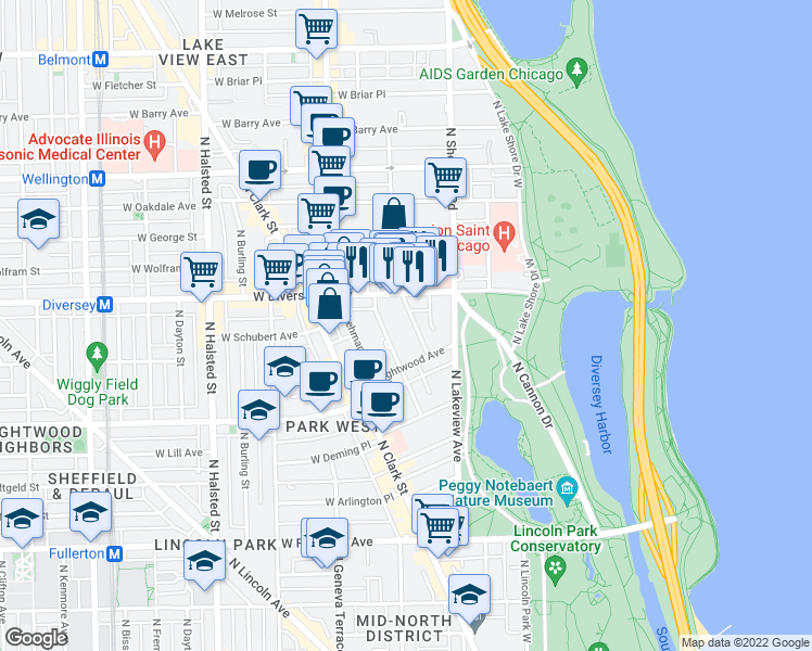map of restaurants, bars, coffee shops, grocery stores, and more near 2738 North Pine Grove Avenue in Chicago