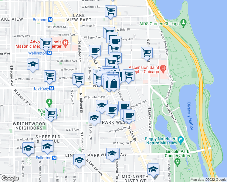 map of restaurants, bars, coffee shops, grocery stores, and more near 2727 North Clark Street in Chicago