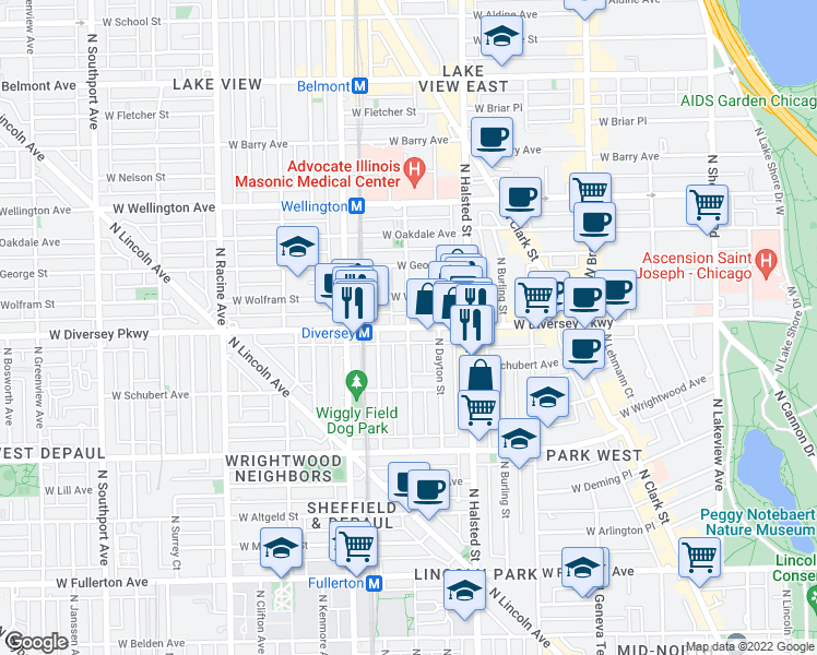map of restaurants, bars, coffee shops, grocery stores, and more near W Diversey Pkwy & N Mildred Ave in Chicago