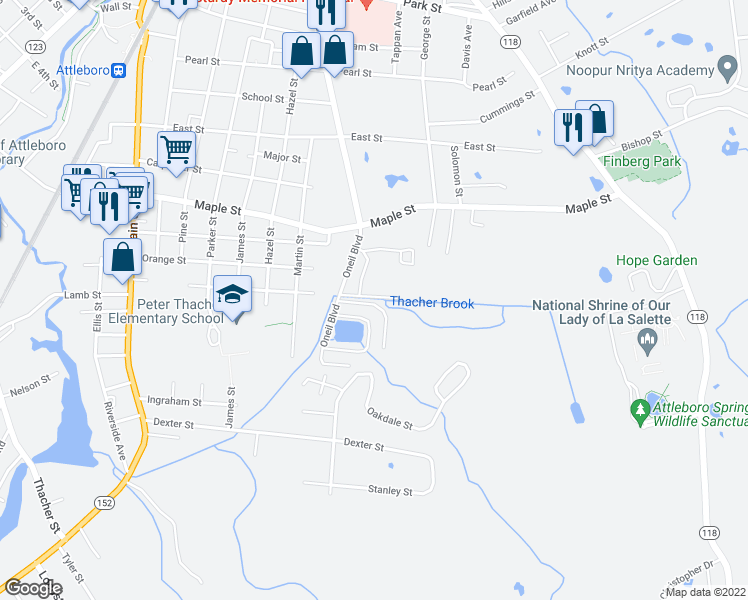 map of restaurants, bars, coffee shops, grocery stores, and more near 75 Thacher Brook Circle in Attleboro