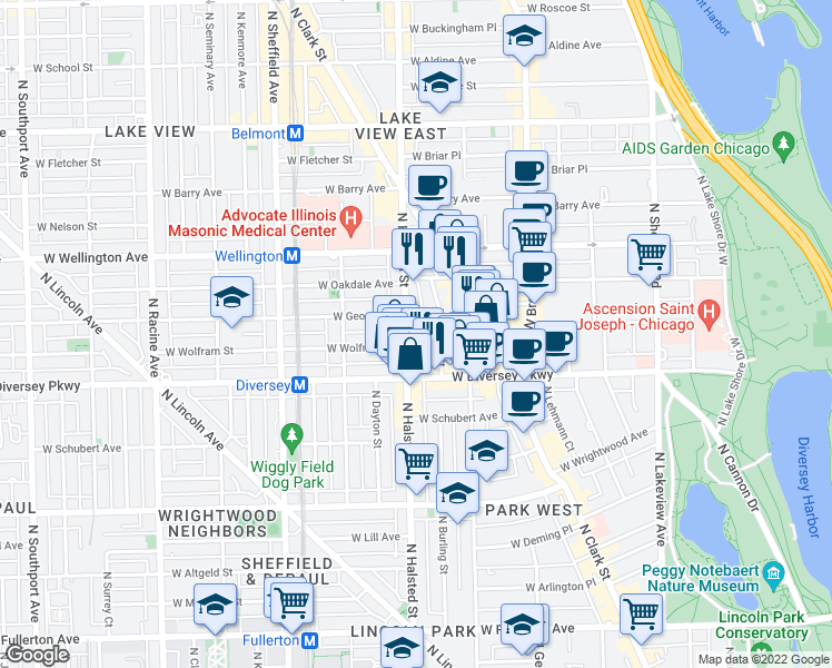 map of restaurants, bars, coffee shops, grocery stores, and more near 2842 North Burling Street in Chicago