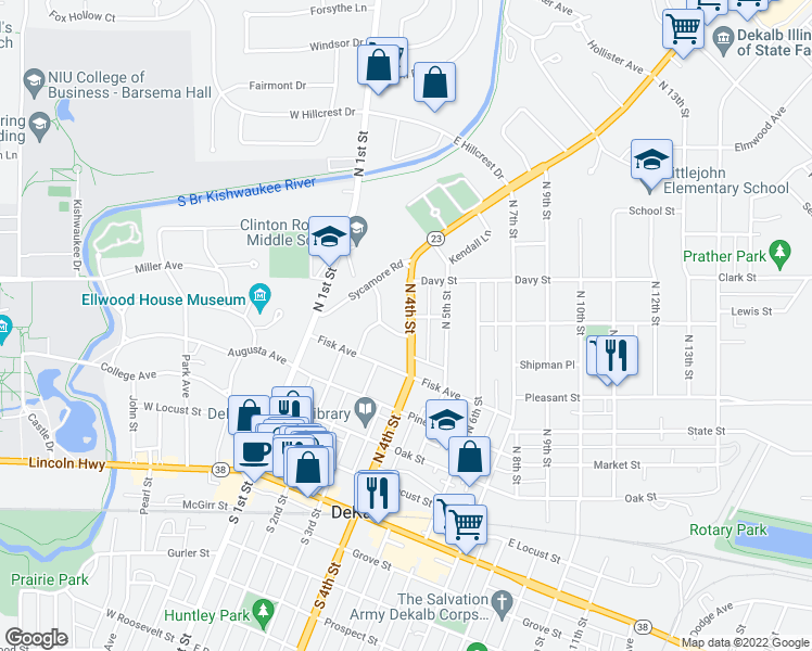 map of restaurants, bars, coffee shops, grocery stores, and more near 639 North 4th Street in DeKalb