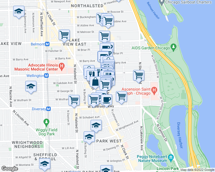 map of restaurants, bars, coffee shops, grocery stores, and more near 2900 North Broadway in Chicago