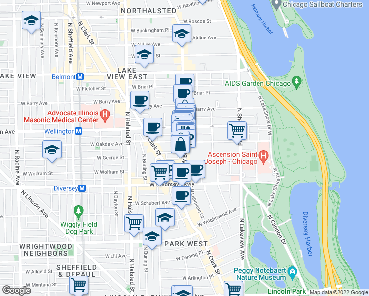 map of restaurants, bars, coffee shops, grocery stores, and more near 2904 North Broadway in Chicago