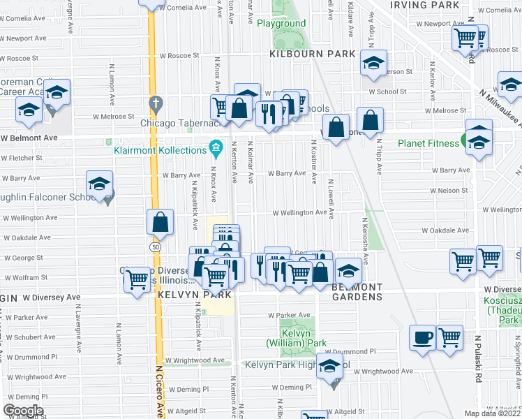 map of restaurants, bars, coffee shops, grocery stores, and more near 4520 West Wellington Avenue in Chicago