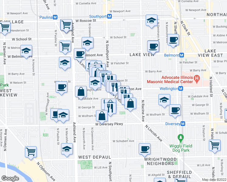 map of restaurants, bars, coffee shops, grocery stores, and more near 2967 North Lincoln Avenue in Chicago