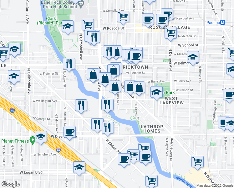 map of restaurants, bars, coffee shops, grocery stores, and more near 3012 North Oakley Avenue in Chicago