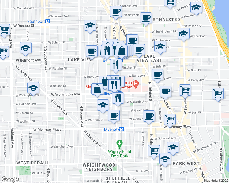 map of restaurants, bars, coffee shops, grocery stores, and more near 3002 N Sheffield Ave in Chicago
