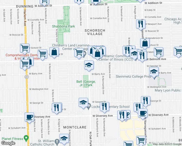 Oak Park Chicago Map.3105 North Oak Park Avenue Chicago Il Walk Score