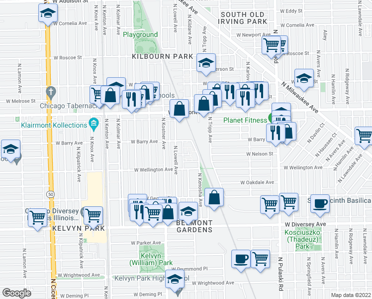 map of restaurants, bars, coffee shops, grocery stores, and more near 4258 West Nelson Street in Chicago