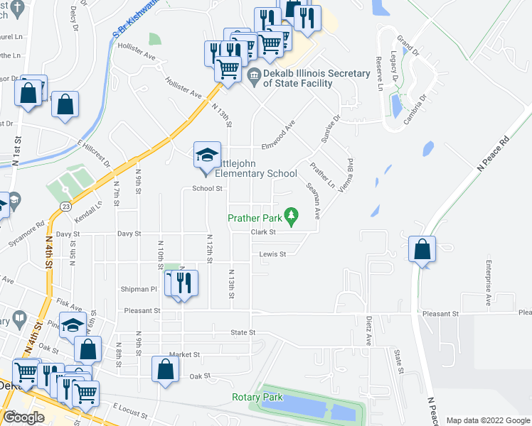 map of restaurants, bars, coffee shops, grocery stores, and more near 925 North 15th Street in DeKalb
