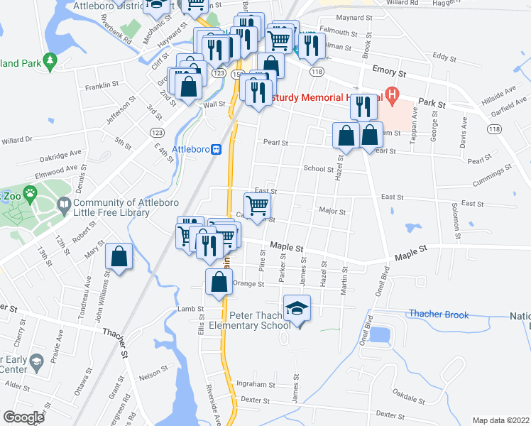map of restaurants, bars, coffee shops, grocery stores, and more near 183 Pine Street in Attleboro