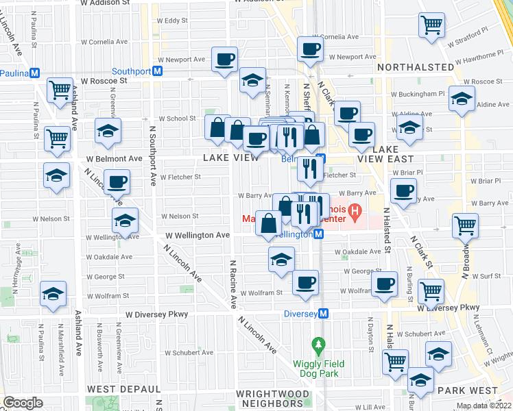 map of restaurants, bars, coffee shops, grocery stores, and more near 3045 North Clifton Avenue in Chicago