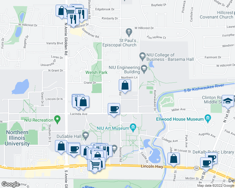 map of restaurants, bars, coffee shops, grocery stores, and more near 513 Normal Road in DeKalb