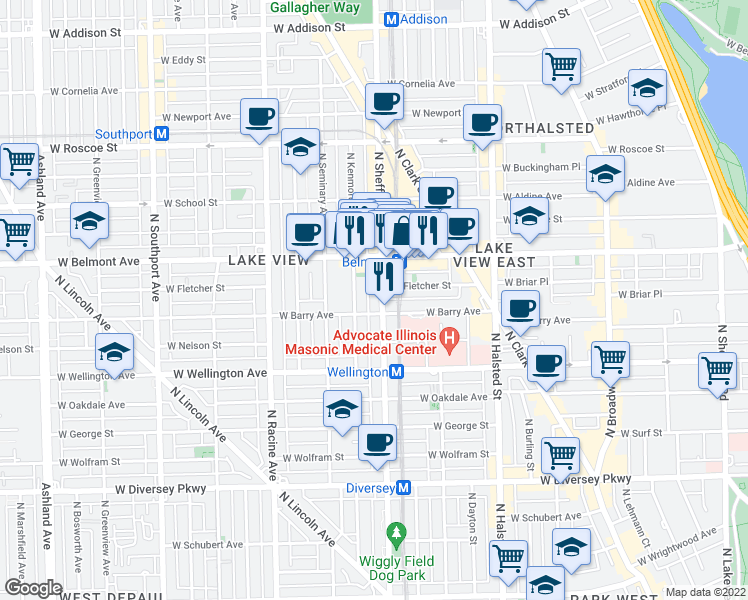 map of restaurants, bars, coffee shops, grocery stores, and more near 3110 North Sheffield Avenue in Chicago