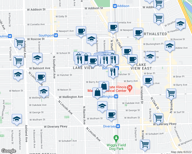 map of restaurants, bars, coffee shops, grocery stores, and more near 3116 North Seminary Avenue in Chicago