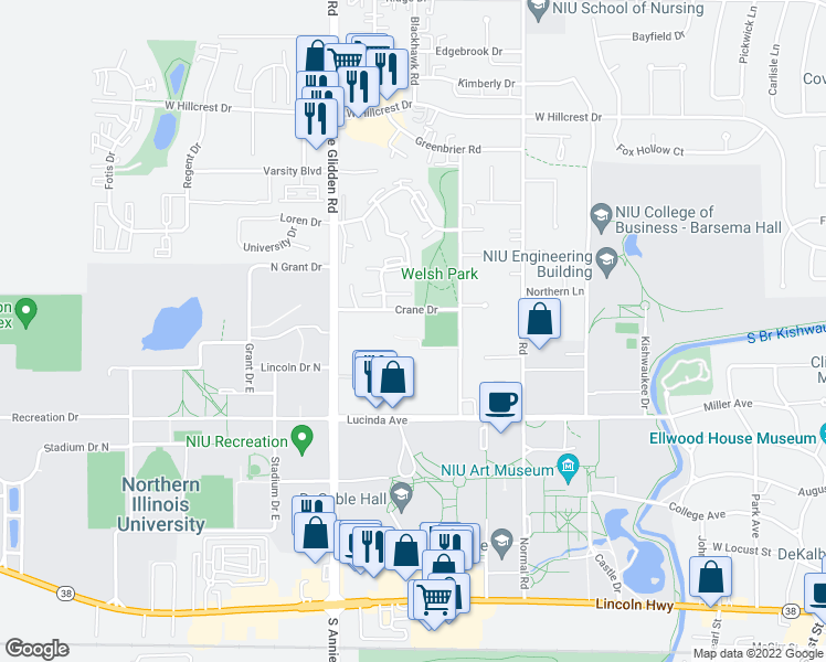 map of restaurants, bars, coffee shops, grocery stores, and more near 900 Crane Drive in DeKalb