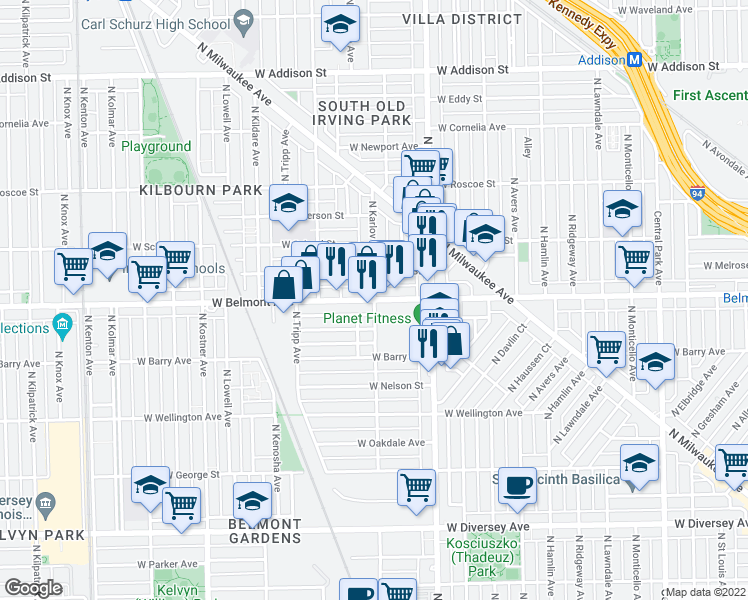map of restaurants, bars, coffee shops, grocery stores, and more near West Belmont Avenue & North Karlov Avenue in Chicago