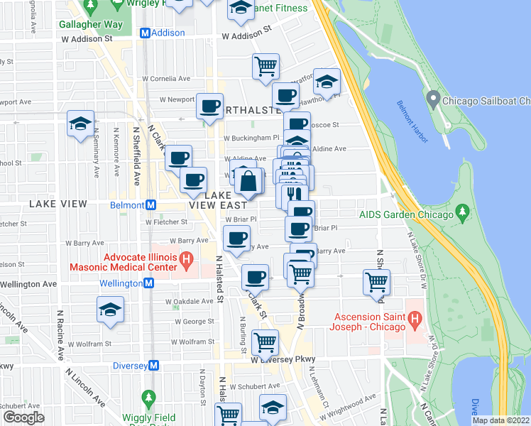 map of restaurants, bars, coffee shops, grocery stores, and more near 650 West Briar Place in Chicago