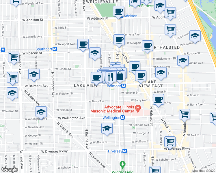 map of restaurants, bars, coffee shops, grocery stores, and more near 3154 North Kenmore Avenue in Chicago