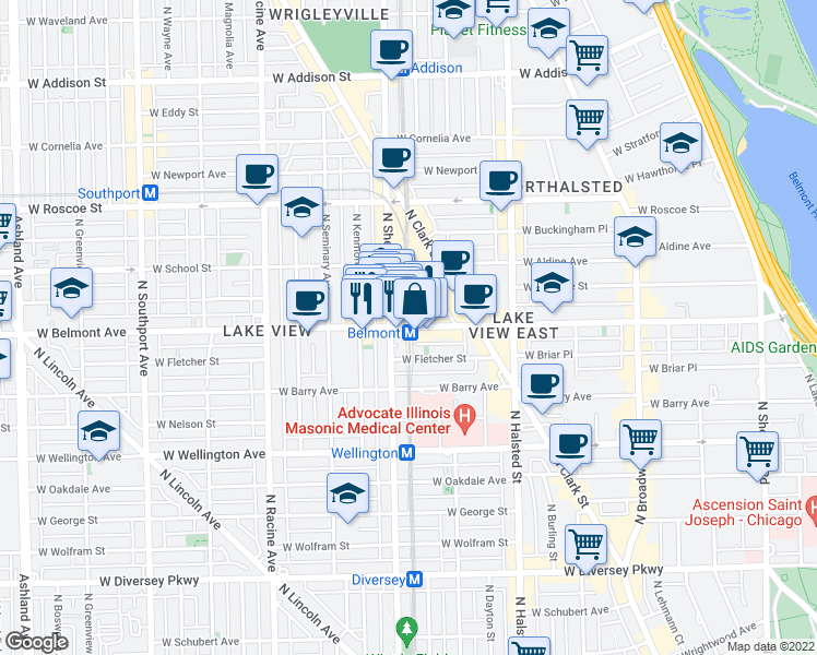 map of restaurants, bars, coffee shops, grocery stores, and more near 3228 North Sheffield Avenue in Chicago
