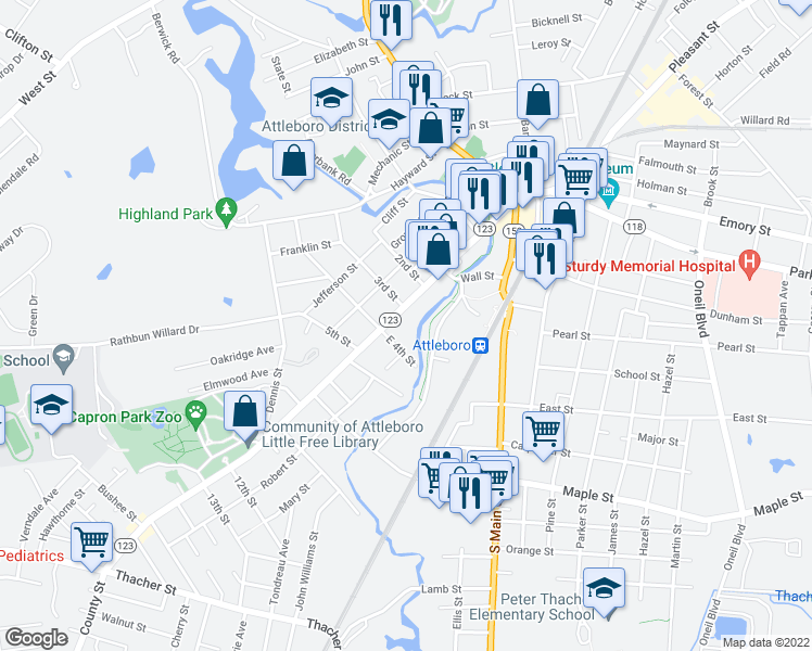map of restaurants, bars, coffee shops, grocery stores, and more near 118 County Street in Attleboro