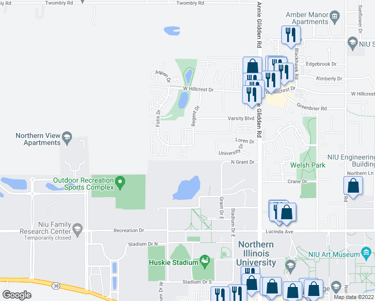 map of restaurants, bars, coffee shops, grocery stores, and more near 1300 Eco Park Drive in DeKalb