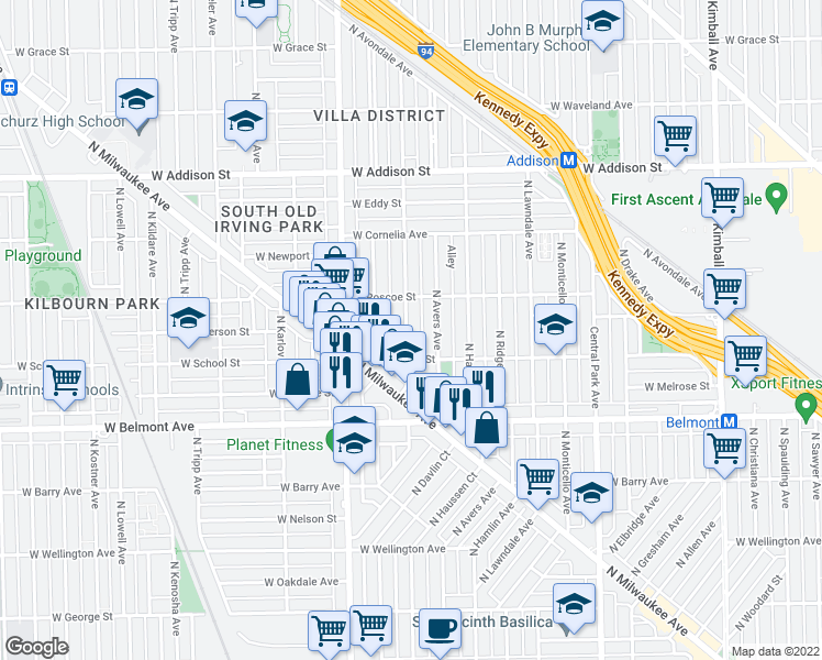 map of restaurants, bars, coffee shops, grocery stores, and more near 3345 North Springfield Avenue in Chicago