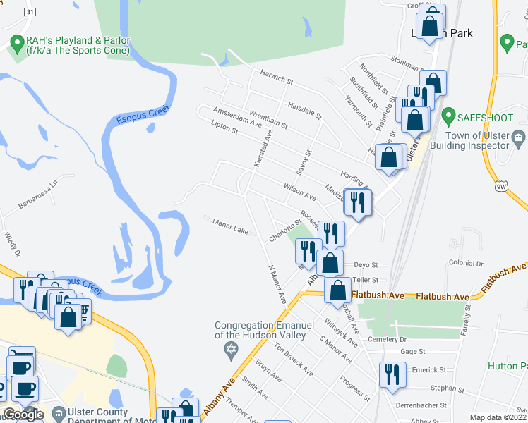 map of restaurants, bars, coffee shops, grocery stores, and more near 35 Jefferson Avenue in Kingston