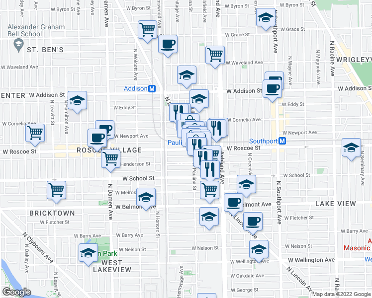 map of restaurants, bars, coffee shops, grocery stores, and more near 1718 West Roscoe Street in Chicago