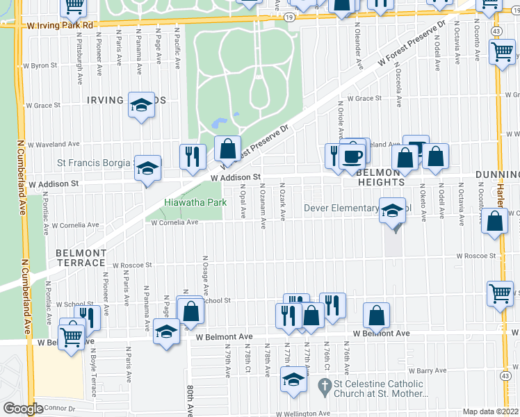 map of restaurants, bars, coffee shops, grocery stores, and more near 3514 North Ozanam Avenue in Chicago