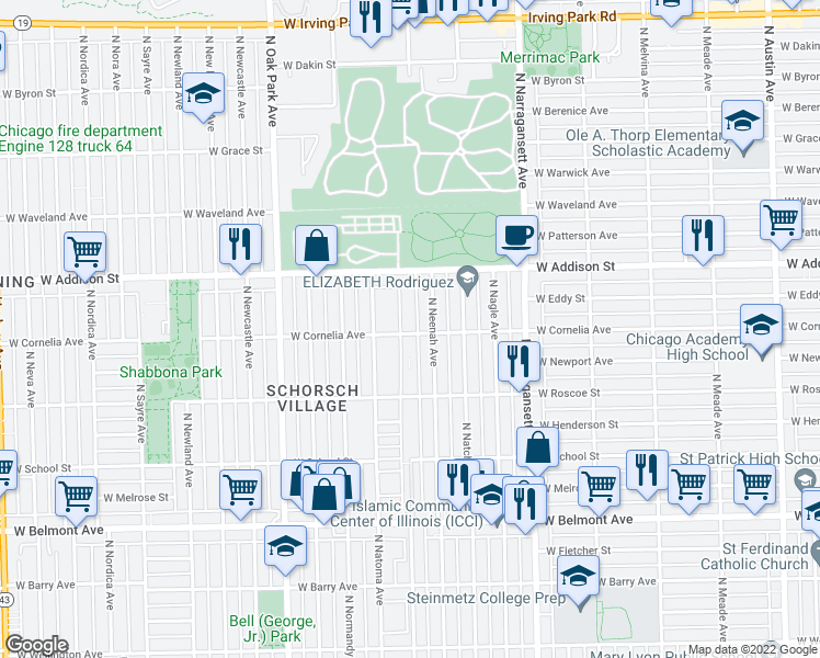 map of restaurants, bars, coffee shops, grocery stores, and more near 6560 West Cornelia Avenue in Chicago