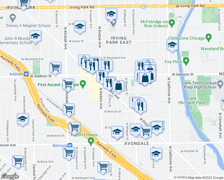 map of restaurants, bars, coffee shops, grocery stores, and more near 3493 North Elston Avenue in Chicago