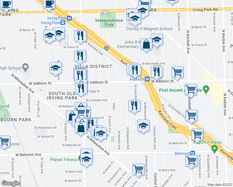 map of restaurants, bars, coffee shops, grocery stores, and more near 3600-3698 North Hamlin Avenue in Chicago