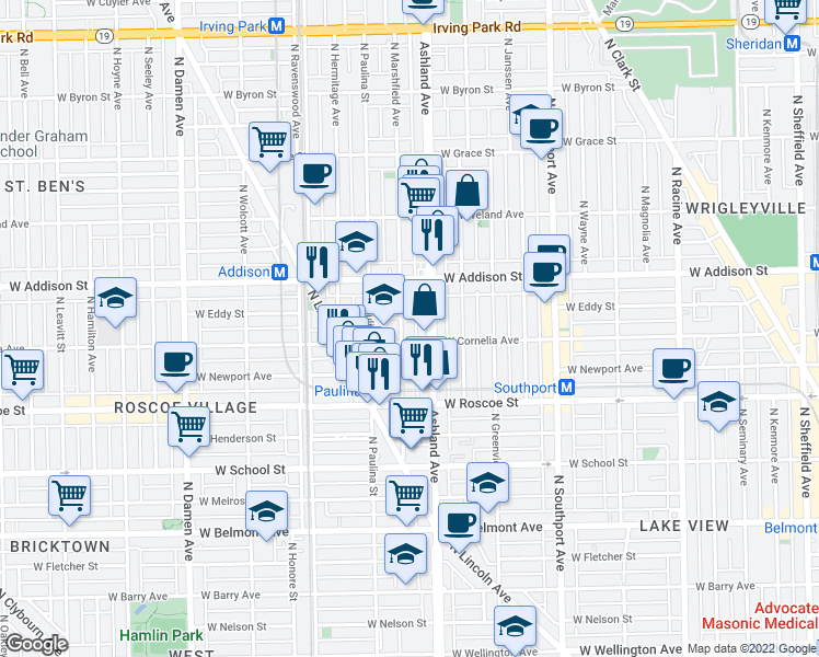 map of restaurants, bars, coffee shops, grocery stores, and more near 3509 North Marshfield Avenue in Chicago