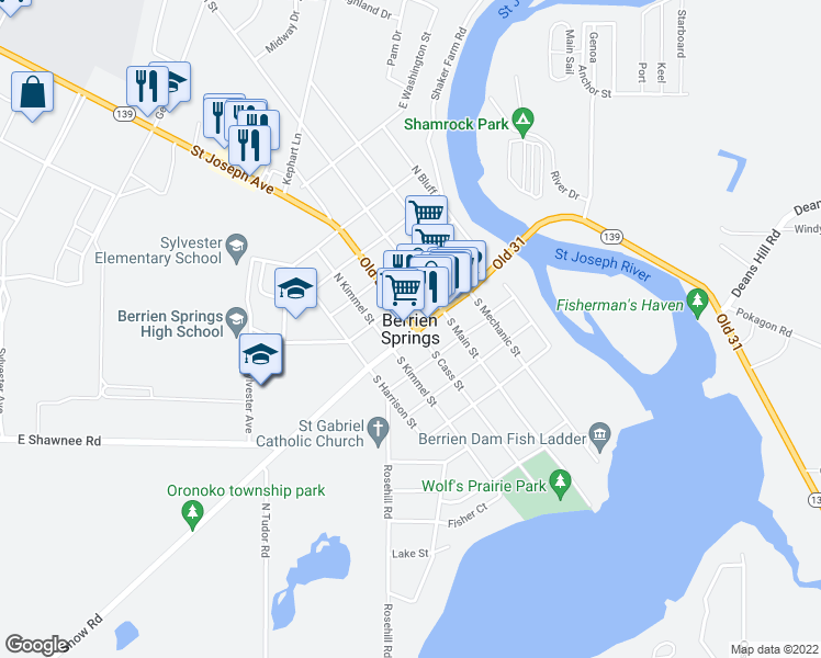 map of restaurants, bars, coffee shops, grocery stores, and more near in Berrien Springs