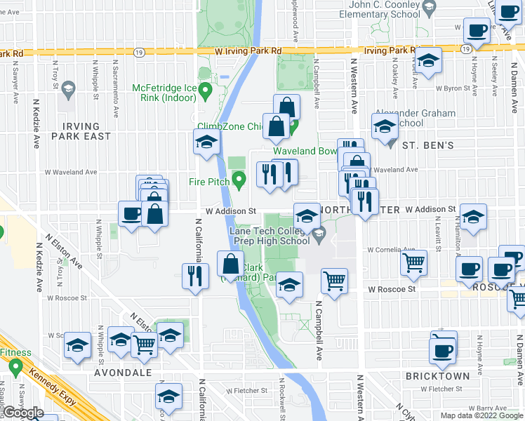 map of restaurants, bars, coffee shops, grocery stores, and more near North Branch Riverwalk in Chicago